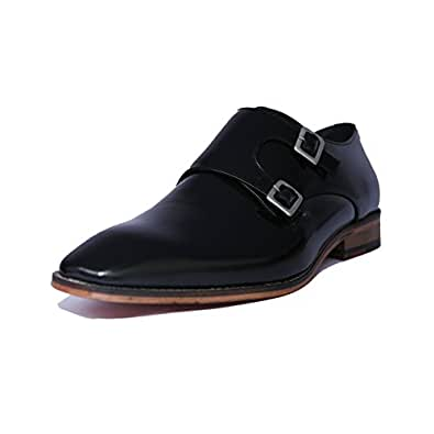 Dnuvo Men's Leather Monk Shoes