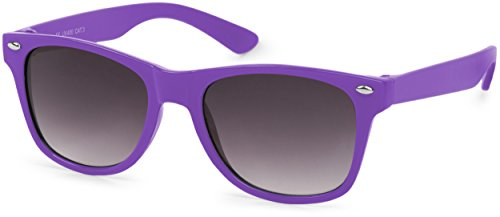styleBREAKER Kinder Sonnenbrille, klassiches Retro, Nerd Design 09020056, Farbe:Gestell Lila/Glas Grau Verlauf