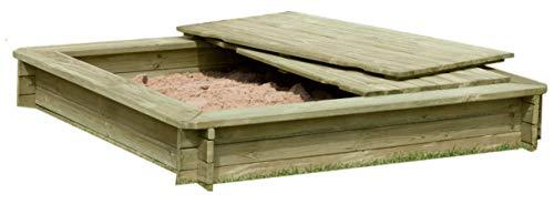 Gartenpirat Sandkasten 180 x 180 cm aus Holz 30 mm imprägniert mit Deckel