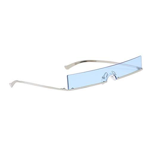 Baoblaze Randlose Sonnenbrille Der Art- Und Weiserechteckige Retro- Eyewear-Schmalen - Blau