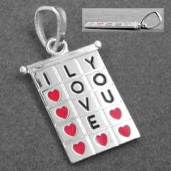 Anhänger, Viereck I-LOVE-YOU, Herzen, 925