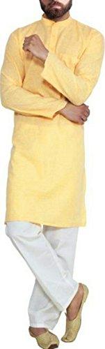 Cafley Mens' Cotton Kurta Pyjama Set (CKP-YL-38, Yellow, 38)