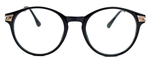 Preisvergleich Produktbild Zeitlose Fashionbrille im 50er 60er Vintage Look Nerdbrille Streberbrille Pantobrille mit Metallbügel VN38 (Schwarz)