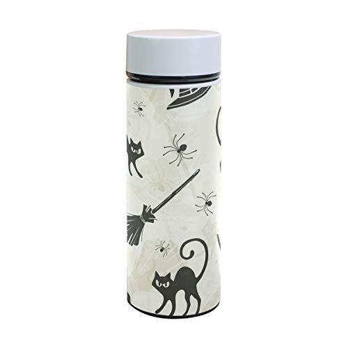 EZIOLY Halloween Katzenbesen und Hexenhüte Vakuumisolierte Edelstahl-Tasse Wasserflasche Reise Kaffee Thermos 350 ml