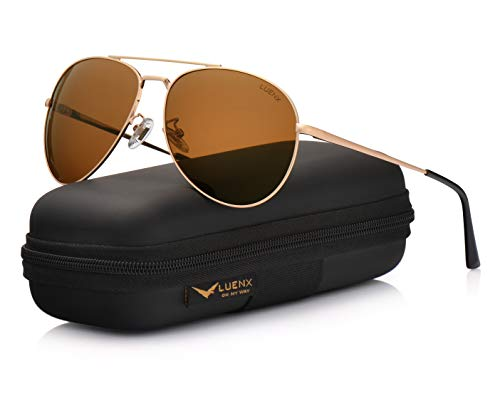 LUENX Sunglasses Polarized for Men & Women with Case - 400 UV Brown Lens Metal Gloss Gold Frame 60mm