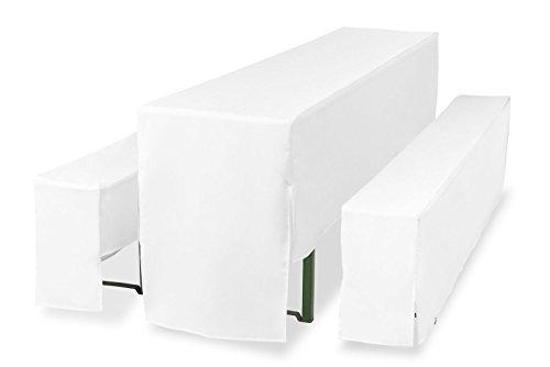 Hussen für Bierzeltgarnitur, Bierbankhussen 3tlg. Set halblang Premium Pro. 220cm Tischbreite: 70cm, Weiß