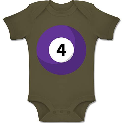 Shirtracer Karneval und Fasching Baby - Billardkugel 4 Kostüm - 6-12 Monate - Olivgrün - BZ10 - Baby Body Kurzarm Jungen - 4 Gruppe Kostüm Ideen