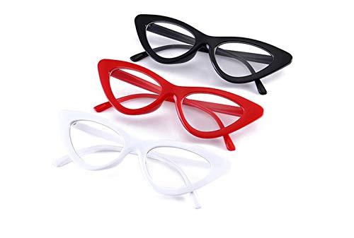 Klassische Katzenaugen-Brillen 3 Paare, Retro-Unisex-Vollformat-Brillenglas-Brillengläser Vintage Geek-Brillen-Lesebrillen, nicht verschreibungspflichtige Brillen, Classic Vogue Optical Eyewear