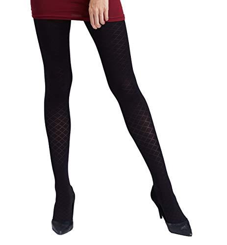 Gatta Nicole 07 - 80den - elegant gemusterte dezent schimmernd glänzende schwarze Strumpfhose mit Rauten Karo Design - Größe 2-S - Schwarz...