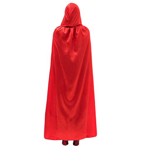 Kofun Halloween Umhang Erwachsene Lange Satin SAMT Halloween Weihnachtsfeier Kapuzen Fancy Cape Vampir Rolle rot