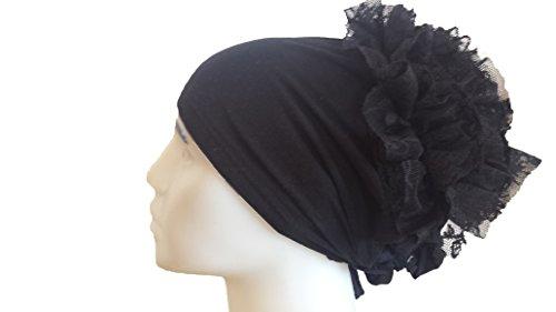 Turban Binde Bonnet Rüschen Hijab Cap Islam Tessetür Chemomütze Baumwolle Beanie...