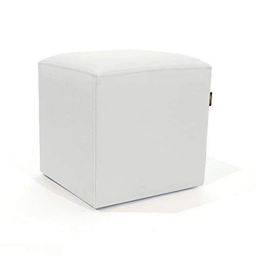 MiPuf - Puff Cube Original Tamaño 40x40x40 - Tejido para Exterior ignifugo- Color Nautico Blanco