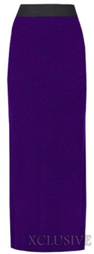 nouvelles femmes plus la taille maxi jersey extensible élastique de jupes longue bande de taille purple
