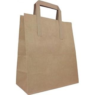 50 x Brown External Tape Handle Paper Bags, Takeaway Food Bags, 22cm wide
