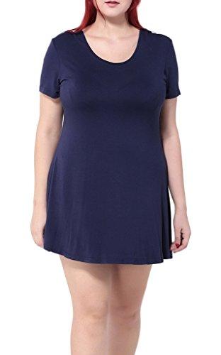 Smile YKK Femme Plus Size Robe Aimable Moulante Grosse Taille Evasé Bleu