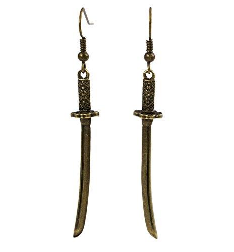 Geralin Gioielli Damen Ohrring Bronze Samurai Schwert Ohrhänger -