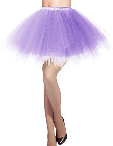 Dresstells Damen Tüllrock 50er Rockabilly Petticoat Tutu Unterrock Kurz Ballett Tanzkleid Ballkleid Abendkleid Gelegenheit Zubehör Lavender S