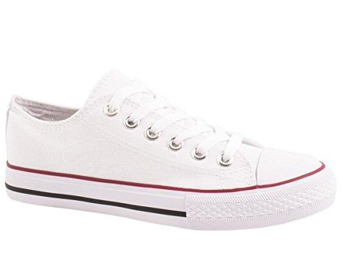 Elara Unisex Sneaker | Bequeme Sportschuhe für Damen und Herren | Low top Turnschuh Textil Schuhe Farbe Weiss, Größe 45