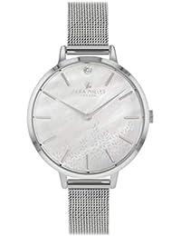 Sara Miller The Diamond Collection SA4019 - Reloj con Correa de Malla bañada en Plata