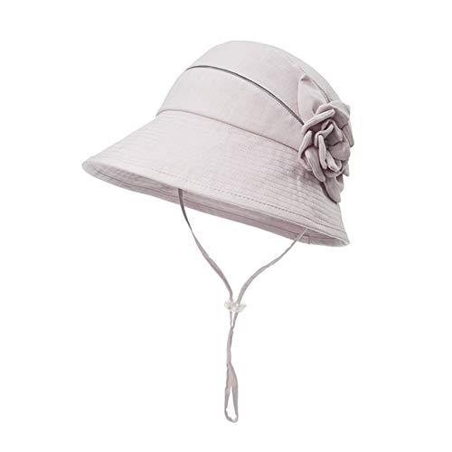 SCJS Hut Frau Visier Flachs Faltbar Atmungsaktiv Sonnenschutz Outdoor 56-58cm (Farbe: Grau