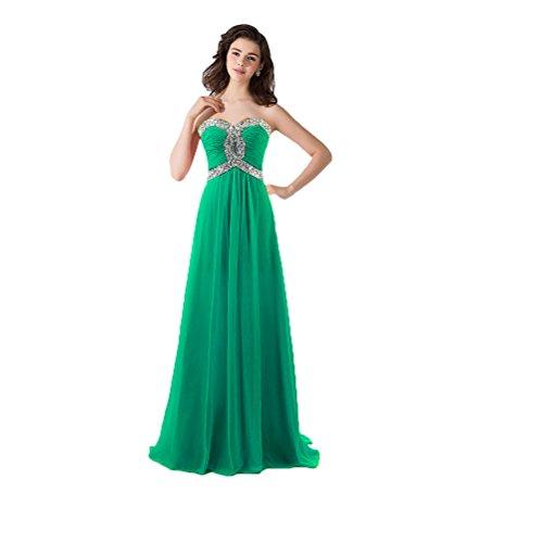 Vimans® elegante lungo Sweetheart pieghettato chiffon Prom abiti da sera per donne Green