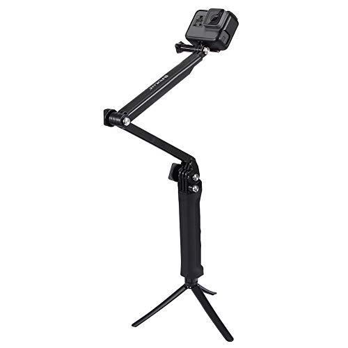 Aramox Wasserdichtes Selfie Stock PULUZ 3 in 1 faltendem Selfie-Stock für Sport-Kamera, Erweiterungs-Einbeinstativ-Griff für Das Reisen, Wandern, schwimmend