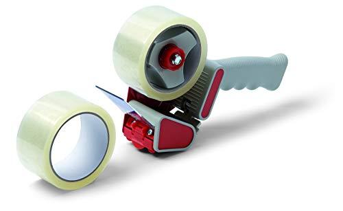 Schuller Eh'klar 44991 patentierter Handabroller inkl. 2 Rollen Schuller-Box Verpackungsbänder 50m, transparent
