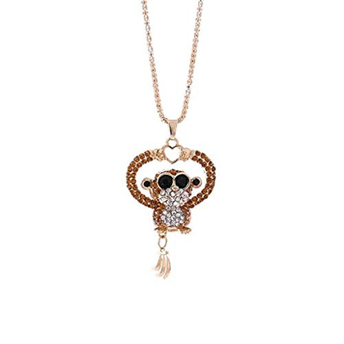 Mode-Halskette,KEATTL Angebote beliebte Mini Affe Anhänger Halskette Frauen Charme Bunte Nette Liebe Mini Affe Strass Halskette Schmuck (Kaffee)