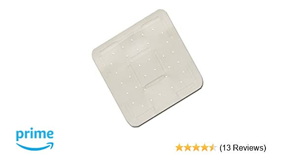Blue Canyon Large Square White Cushioned Suction Anti Non Slip Rubber Bath Shower Mat by Posh Porschey