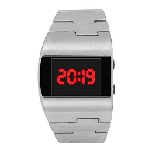 YEARNLY UnisexRetro Armbanduhr,Legierung Band,Coole Mode schöne breite Zifferblatt Stahlband Monochrom digitale elektronische Uhr
