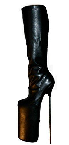 Erogance 30cm Extrem Plateau High Heels Kunstleder Kniestiefel, Stivali donna ecopelle