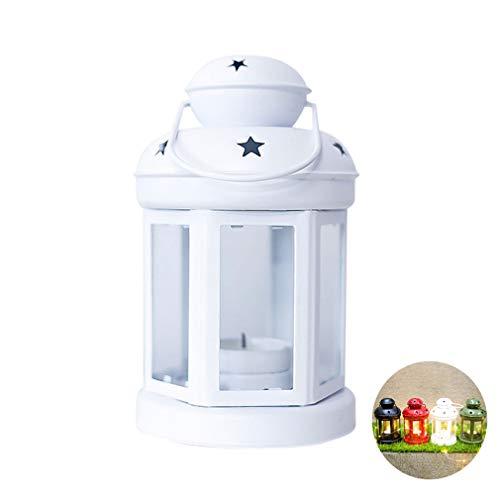 LHY LIGHT Weihnachten Dekorative Laternen Schmiedeeisen Winddichtes Lampe Kerze Kerzenleuchter Weihnachtsdekorationen für Haus,Weiß -