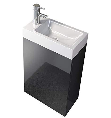 SAM Waschplatz Vega, Kleiner Waschtisch 40 x 22 cm, Schwarz Hochglanz, Tür mit Push-Open-Funktion, Kunststoffbecken