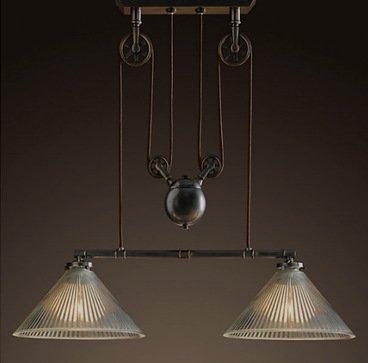 GS~LY Stile industriale luce di sollevamento telescopico creative schermo di vetro corridoio retrò Cafè Ristorante e Bar Lounge lampadario di studio
