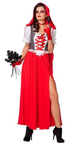 Karneval-Klamotten Rotkäppchen Kostüm Damen langes Kleid mit roten Umhang Damenkostüm Märchen Fasching Größe ()