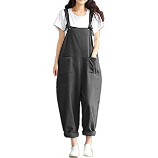 ZANZEA Women's Retro Loose Casual Baggy Sleeveless Overall Long Jumpsuit Playsuit Trousers Pants Dungarees Dark Grey M