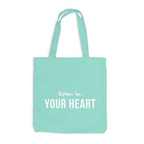 Jutebeutel - Listen To Your Heart - Herz Mint