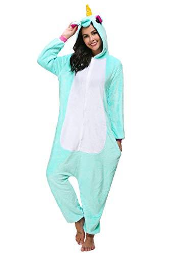 Pigiama animale unicorn unisex jumpsuit traspirante animal sleepwear adultohalloween cosplay party - mescara (xl (altezza 178-188cm), chiaro verde)