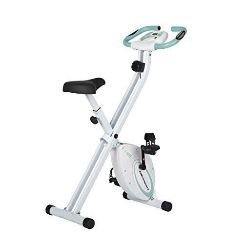 Ultrasport F-Bike, Fahrradtrainer, Heimtrainer, faltbares Fitnessfahrrad mit Trainingscomputer und Handpulssensoren, klappbar, Mint