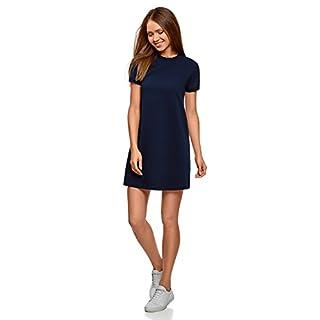 oodji Ultra Damen Lässiges Jersey-Kleid, Blau, DE 38 / EU 40 / M