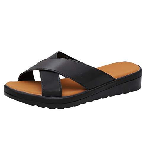 Damen Pantoletten Hausschuhe Sommer Sandalen Slipper Flip-Flops Strand Schuhe Sohlen Schlappen Offener Pantoletten Badeschuhe Strandschuhe (EU:38, Schwarz)