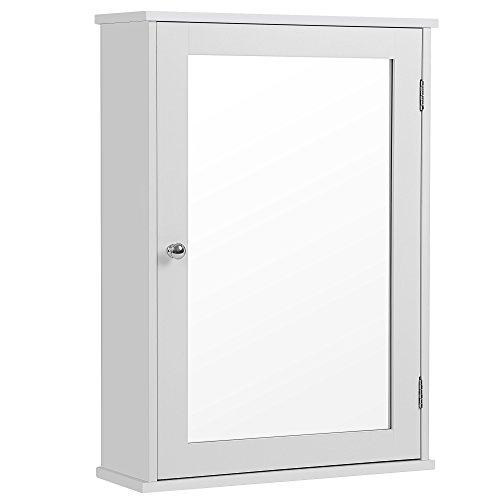 SONGMICS Armario con Espejo Armario de baño Armario Colgante Armario de Pared con 1 Puerta sin Luz Incorporada de Madera para Baño Entrada Blanco 41 x 14 x 60 cm (Largo x Ancho x Alto) LHC001