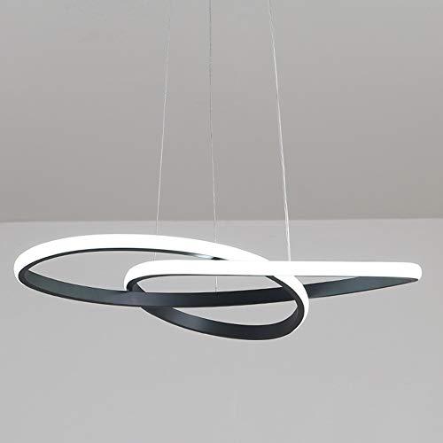 Led sospensioni nero del lfl design forma di circolare onda in metallo e acrilico salotto cucina sala di riunione bianco caldo, ø40cm 42w 2940lm [classe energetica a + +]