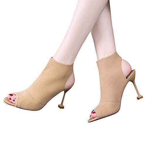 Damen Mode Sexy Sandalen,Casual Schnalle Wildleder Fischmaul Schuhe Basic Schlupfstiefel Blockabsatz Shoes Booties Stiefel Business Damenschuhe Roma Schuhe -5cm -