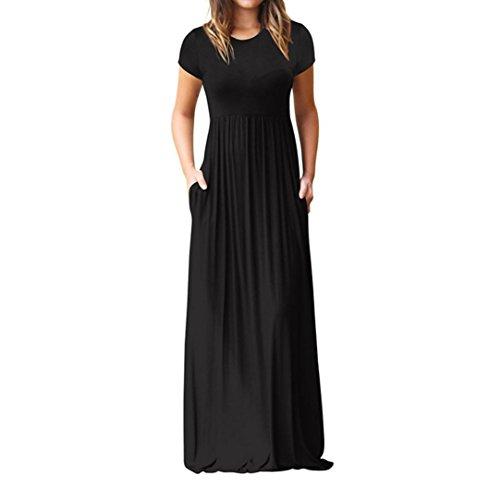 T-Shirt Kleid,Resplend Damen Frauen Casual Langarm Hülsen-Lose Einfache Maxi kleider Abendkleider Sommerkleider Mit Taschen Hohe Taille Langes Kleid (Schwarz, XL)