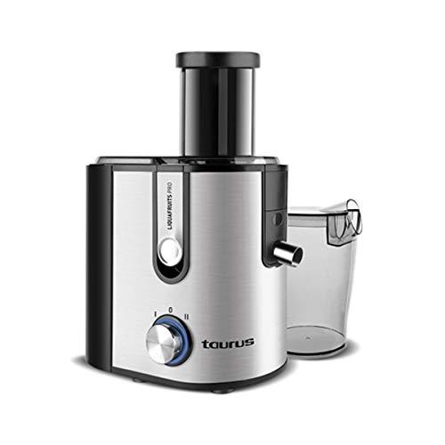 Taurus Liquafruits - Centrifuga-Frullatore a 2 Velocità, con sistema speciale antigoccia, filtro estraibile in acciaio INOX, nero e grigio [classe di efficienza energetica A+a_plus] 800 W