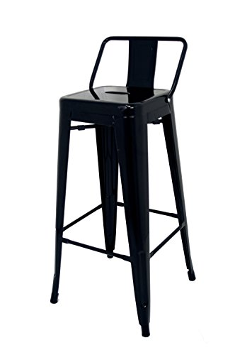 La Silla Española - Taburete estilo Tolix con respaldo. Color Negro. Medidas 95x44,5x44,5