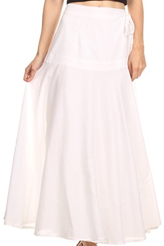 Sakkas 6004 - Harriet Long Tall Adjustable Embroidered Wrap Around Skirt with Waist Tie-Weiß-OS -
