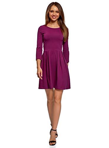 oodji Ultra Damen Tailliertes Kleid mit Ausgestelltem Rock, Violett, DE 36 / EU 38 / S (Kleid Stiefel Frauen Für Winter)