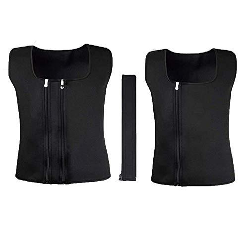 Vertvie Herren Sport Weste Hot Neopren Workout Sauna Tank Top Zipper Korsett Taille Sweat Shapewear für Gewichtsverlust Körperformer Shapewear EIN Stück in Zwei Größen (3XL, Schwarz)